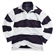 FR08M Sewn stripe long sleeve rugby shirt