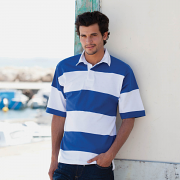 FR09M Sewn stripe short sleeve rugby shirt