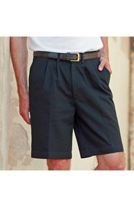 Teflon®-coated double pleat front chino shorts