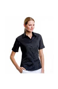 Women's bar shirt mock turn back cuff short sleeve