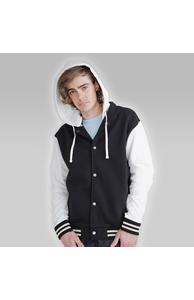 Unisex baseball jacket with detachable hood